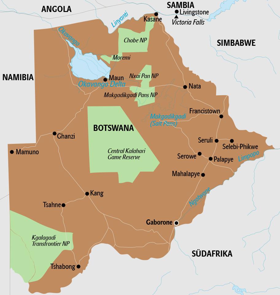Botswana Karte mit umliegenden Ländern