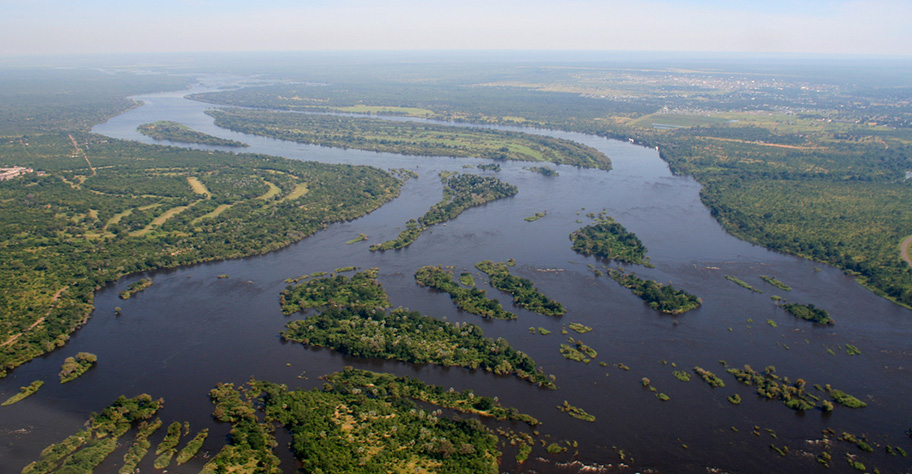 Zambezi River in Zambia. Quelle des Lebens.